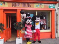 Dinky Threads Shop Opening in Charleville with Face painter, Mickey and Minnie Mouse