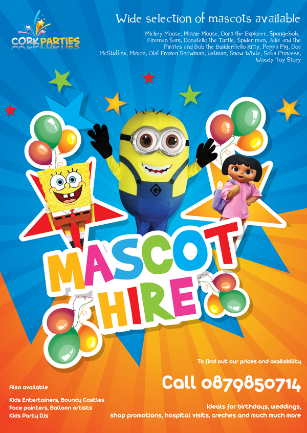 Mascot Hire Cork | Mickey Mouse, Minnie Mouse| Costumes for hire in Cork